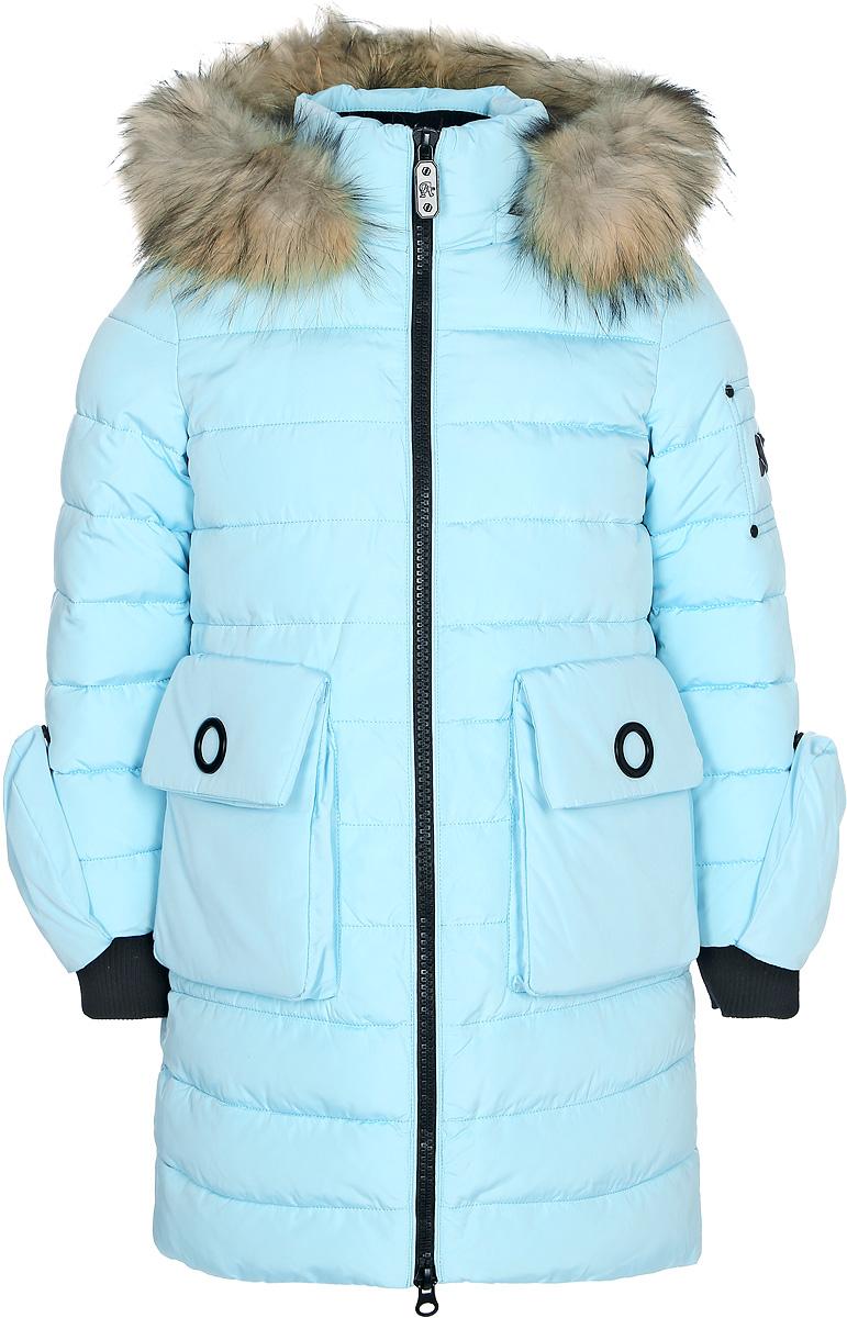 Куртка для девочки Vitacci, цвет: мятный. 2171459-32. Размер 1342171459-32Куртка для девочки удлиненная. Капюшон съемный, отделка из натурального меха. Куртка декорирована накладными карманами и не съемными рукавичками на кнопках. Подкладка утеплена флисом по спинке. Наполнитель БИО ПУХ. Температурный режим от -10°С до -25°С