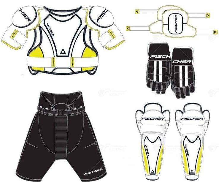 Комплект защиты Fischer  Starter Kit , 5 предметов. Размер YTH (4-7 лет) - Ледовые коньки, хоккей