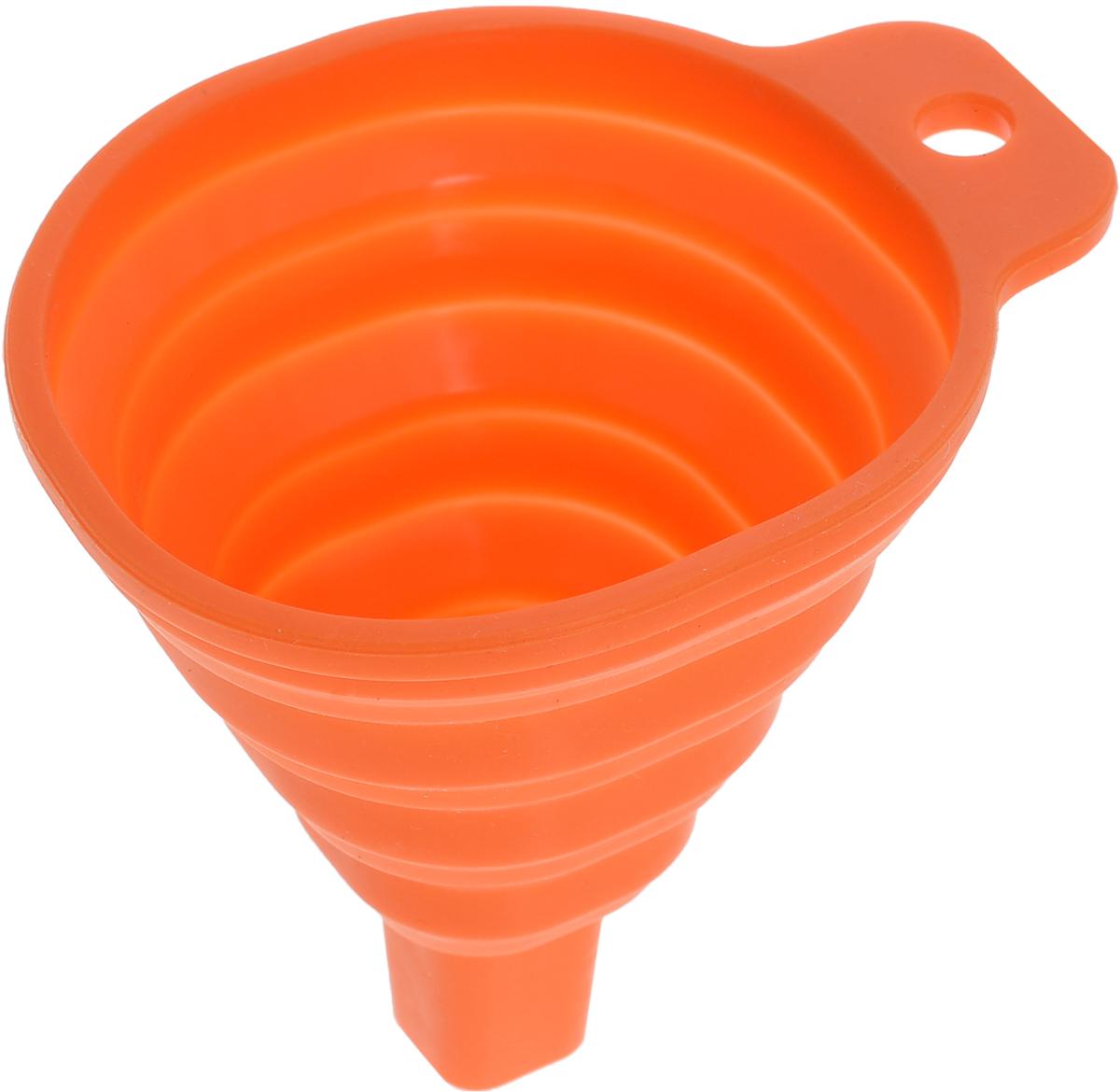Воронка Доляна Квадро, складная, цвет: оранжевый, 7 х 7 х 9 см811938_оранжевыйСкладная воронка Доляна Квадро понадобится любой хозяйке. Выполнена из силикона. Материал позволяет варьировать размер слива в зависимости от диаметра горловины и условий хранения. Она проста в использовании.Размеры: 7 х 7 х 9 см.