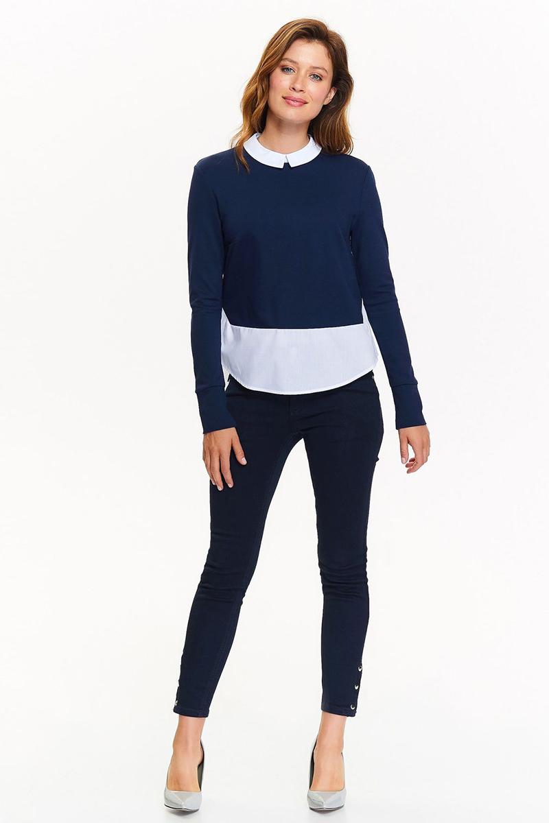 Блузка женская Top Secret, цвет: синий. SBD0751GR. Размер 36 (44)SBD0751GRЖенская блузка Top Secret выполнена из высококачественного материала. Модель с отложным воротником и длинными рукавами застегивается сзади на молнию.