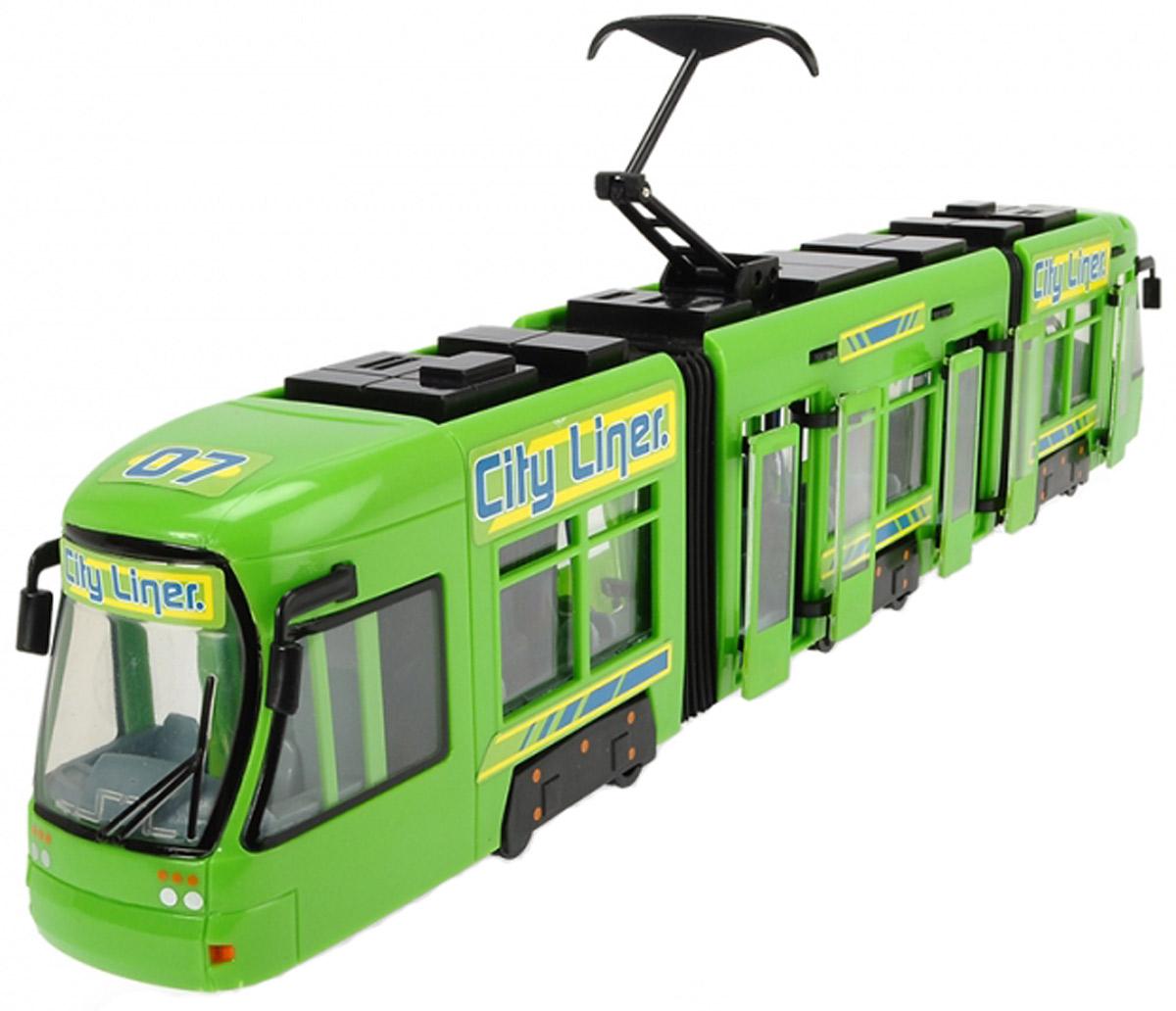 Dickie Toys Городской трамвай цвет зеленый мусоровоз со светом и звуком 30см dickie toys
