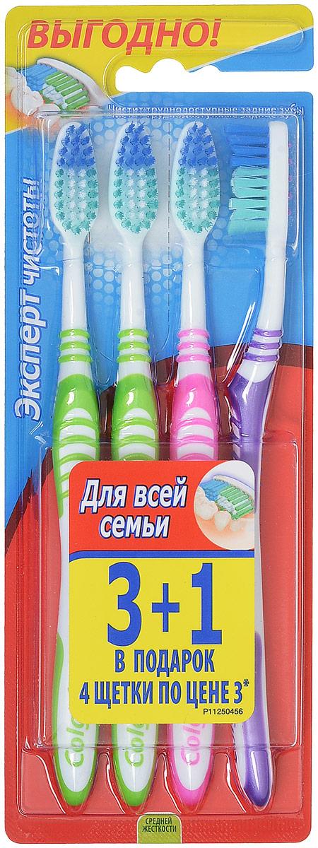 Colgate Зубная щетка Эксперт чистоты, средней жесткости, цвет: фиолетовый, салатовый, розовый, 3+1 swix стальная щетка средней жесткости swix