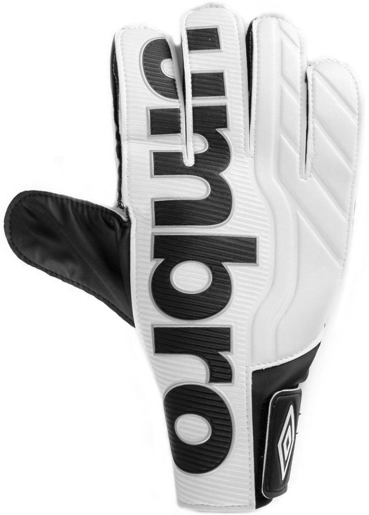 Перчатки вратарские Umbro Veloce Cup, цвет: белый, черный. 20089U. Размер 920089UПерчатки вратарские Umbro для игроков разного уровня подготовки. Ладонь из латекса. Вставки из сетки для вентиляции. Эмбоссированная защита зоны удара.