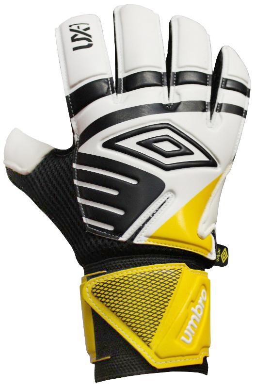Перчатки вратарские Umbro  Ux Precision Glove, цвет: белый, черный, желтый. Размер 920533UПерчатки вратарские для игроков полупрофессионального уровня. Анатомическая оадонь выполнена из технологичного латекса 3мм. Вставки из сетки для вентиляции. Эмбоссированная защита зоны удара.