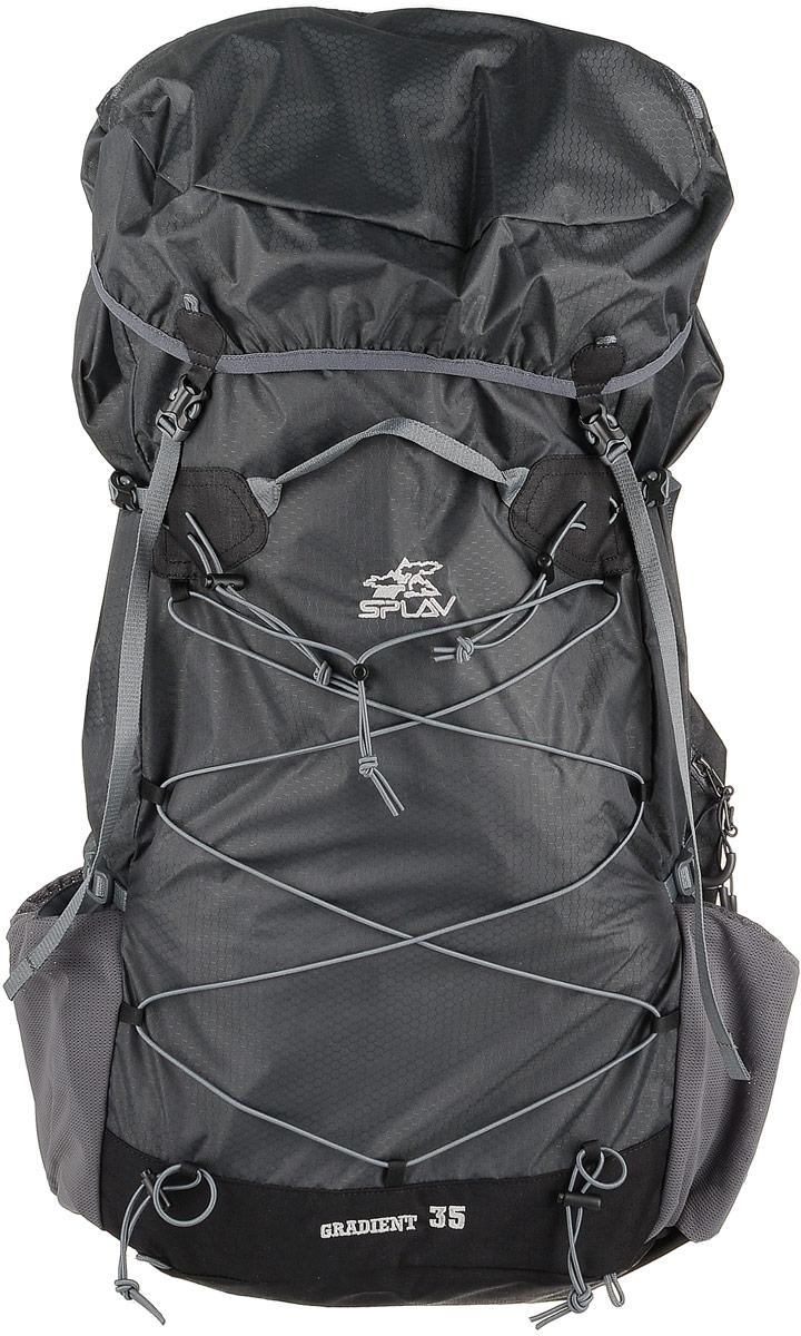 Рюкзак туристический Сплав Gradient 35, цвет: серый, 35 л. 50359905035990Сплав Gradient 35 - это облегченный универсальный рюкзак для походов в альпийском стиле, воскресных выходов, подходов к скальным маршрутам и прогулок по ледникам. Он сочетает в себе поразительную легкость с продуманной системой подвески и грамотной организацией полезного объема. S-образные лямки с мягкой вентилируемой подкладкой из сетки Airmesh Coolmax и регулируемой грудной стяжкой удобно сидят на плечах. Лямки жестко вшиты, что делает систему крепления более надежной. Для лучшего распределения нагрузки стропы лямок крепятся поверх пояса, сбоку рюкзака в треугольную полосу ткани. Посадка лямок регулируется оттяжками, которые крепятся к спинке рюкзака. Сверхлегкий каркас из напряженного стеклопластикового прутка создает необходимую жесткость, а крупноячеистая сетка в сочетании с тонкими профилированными уплотняющими накладками обеспечивает вентиляцию спины. Дополнительную жесткость придает вставка из пеноматериала, которая вставляется в карман на спине. При желании, вставку можно вынуть, и тем самым облегчить рюкзак еще больше. Рюкзак изготовлен из легкой, прочной, износостойкой ткани 100% Nylon Honeycomb c двухсторонним силиконовым покрытием, а дно рюкзака - из особо прочной Cordura 500D.Объем: 35 л. Вес: 730 г. Вес клапана: 73 г. Основное отделение (Ш х В х Т): 33 х 57 х 16 см. Карман клапана (Ш х В х Т): 25 х 8 х 20 см.Что взять с собой в поход?. Статья OZON Гид