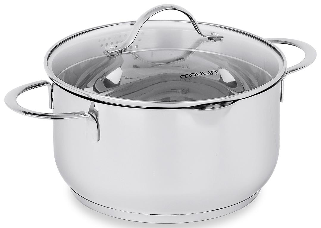 Кастрюля MoulinVilla Silver с крвшкой, 4,5 лCAS-045Серия посуды из нержавеющей стали Silver - воплощение совершенства природных форм, которая принесет ощущение неповторимого стиля, в сочетании с уютом, станет удобным помошником и впишется в любой интерьр кухни. Преймущества: - Толщина стенок - 0,7 мм, толщина дна - 5 мм. - Крышка из жаропрочного стекла с паровыпуском. - Кастрюля имеет мерную шкалу. - Ручки не нагреваются. - Можно мыть в посудомоечной машине.