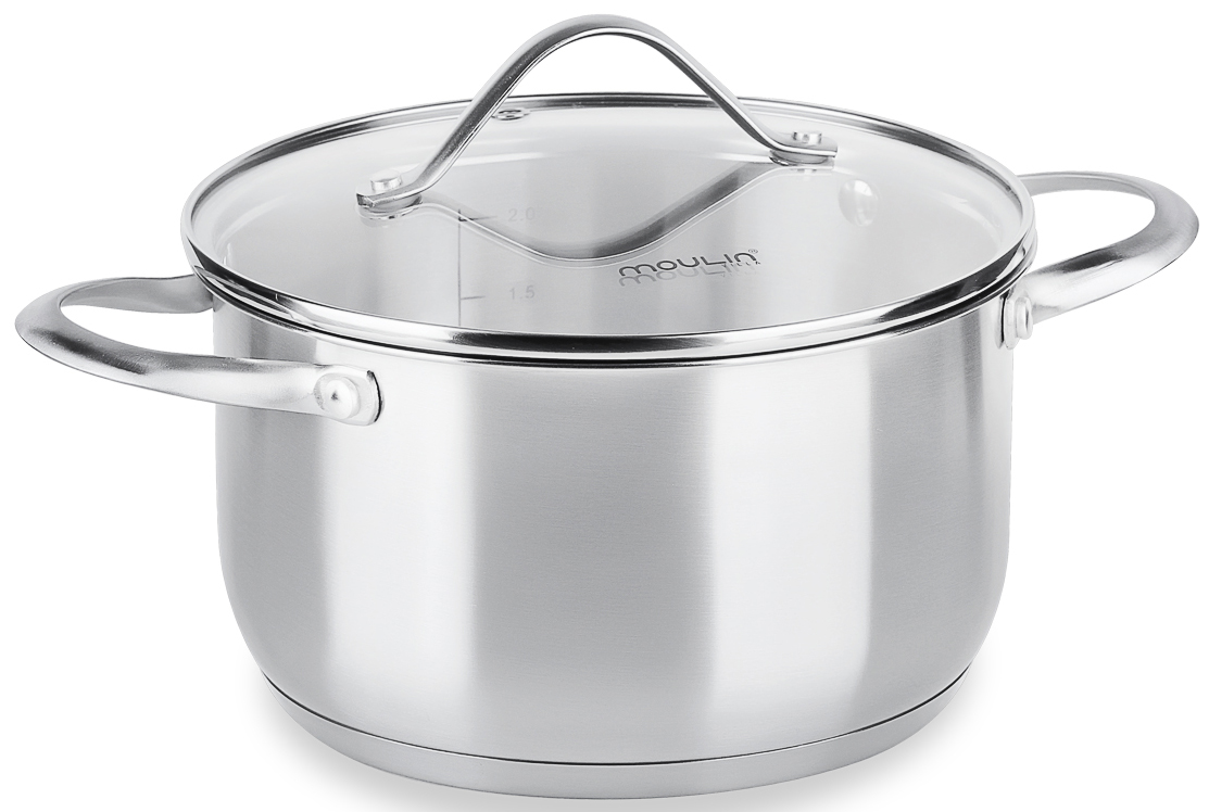 Кастрюля MoulinVilla Silver с крвшкой, 2,3 лCAS-023Серия посуды из нержавеющей стали Silver - воплощение совершенства природных форм, которая принесет ощущение неповторимого стиля, в сочетании с уютом, станет удобным помошником и впишется в любой интерьр кухни. Преймущества: - Толщина стенок - 0,7 мм, толщина дна - 5 мм. - Крышка из жаропрочного стекла с паровыпуском. - Кастрюля имеет мерную шкалу. - Ручки не нагреваются. - Можно мыть в посудомоечной машине.
