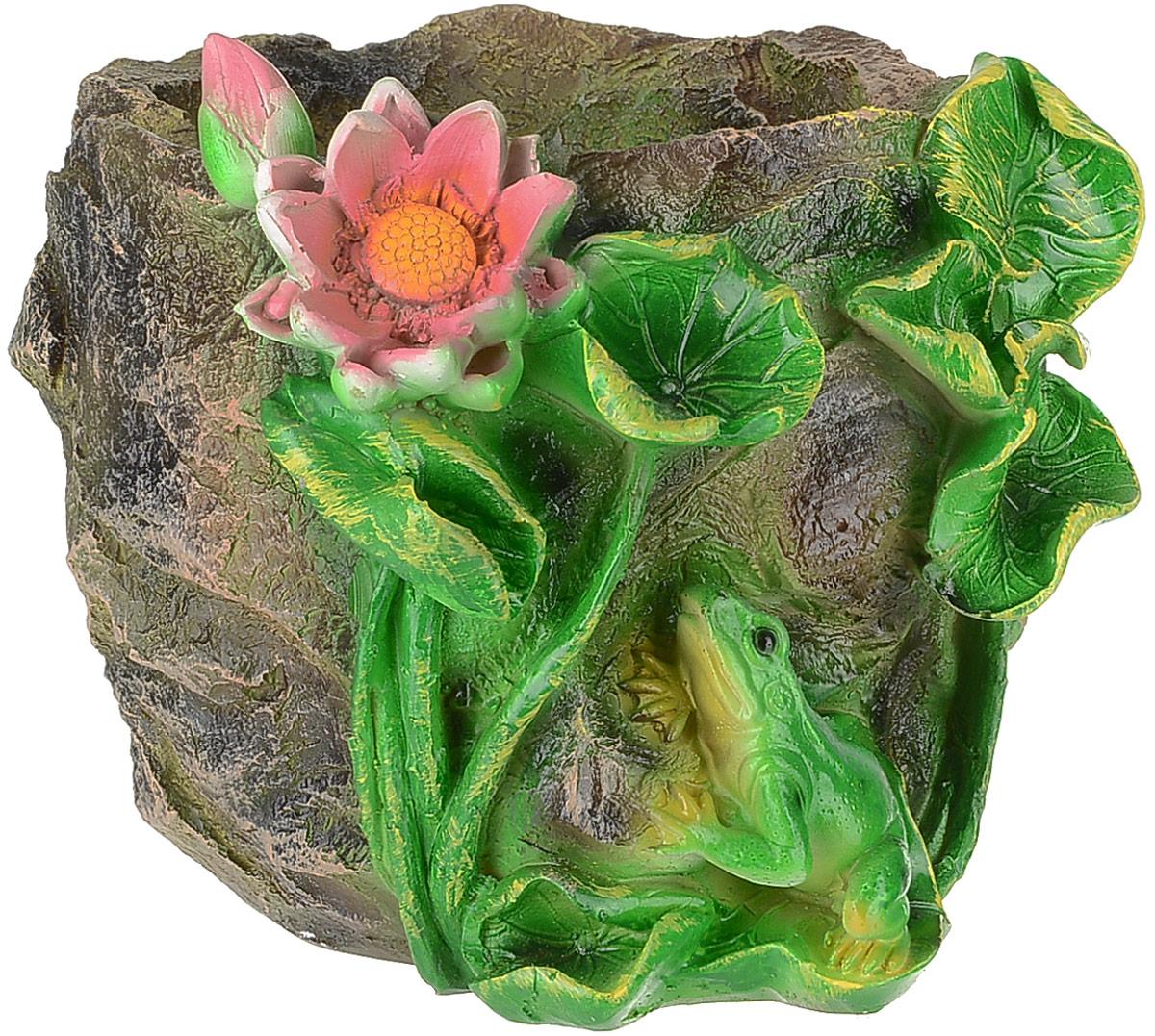 Кашпо Камень с лягушкой и лотосом, 20 х 20 х 15 см4601137124674Комнатные растения - всеобщие любимцы. Они радуют глаз, насыщают помещение кислородом и украшают пространство. Каждому из растений необходим свой удобный и красивый дом.Поселите зеленого питомца в яркое и оригинальное фигурное кашпо Камень с лягушкой и лотосом. Камень с лягушкой и лотосом позаботится о растении, украсит окружающее пространство и подчеркнет его оригинальный стиль. Размер: 20 х 20 х 15 см.