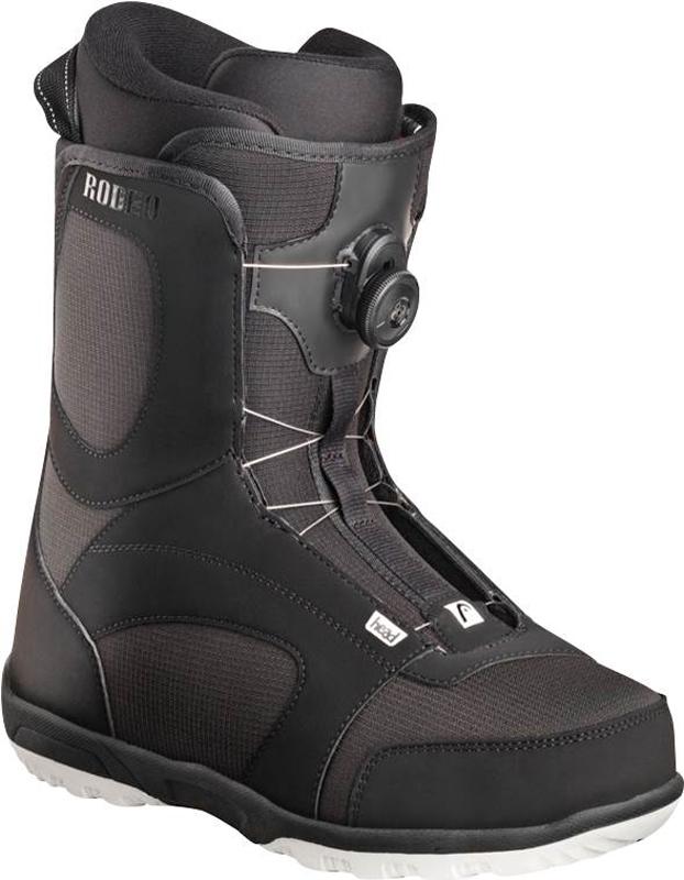 Ботинки для сноуборда Head Rodeo Boa, цвет: черный. 353507. Размер 28,5353507_28,5Сноубордические ботинки Head Rodeo Boa подходят для начинающих и прогрессирующих райдеров. За счет удобного внутреннего ботинка, который хорошо держит ногу, вы будете отлично себя чувствовать на склоне в течение всего дня катания. Несмотря на среднюю жесткость, этот ботинок отлично передает энергию, благодаря оптимальной посадке, легкости и эргономике.Неубиваемая подошва ботинка выполнена из резины с вставками EVA и обеспечит отличную амортизацию, не будет скользить на льду. Быстрая шнуровка Boa долговечна и позволит одевать и снимать ботинок в считанные секунды.