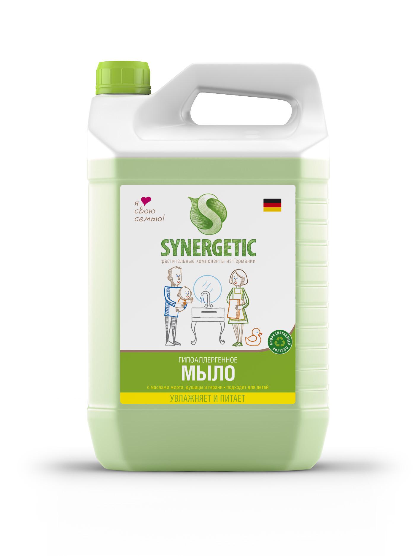 Мыло жидкое Synergetic, для рук, 5 лSNG-105500Концентрированное жидкое мыло подходит для бережного очищения кожи отлюбых загрязнений. Обладает приятным натуральным ароматом. Особая формулаИнтенсивно питает и защищает вашу кожу. За счет полностью натуральногосостава обладает 100% смываемостью, безопасно для детей и животных,подходит для интимной гигиены. Эффективно устраняет запахи и загрязнениядаже в холодной воде.