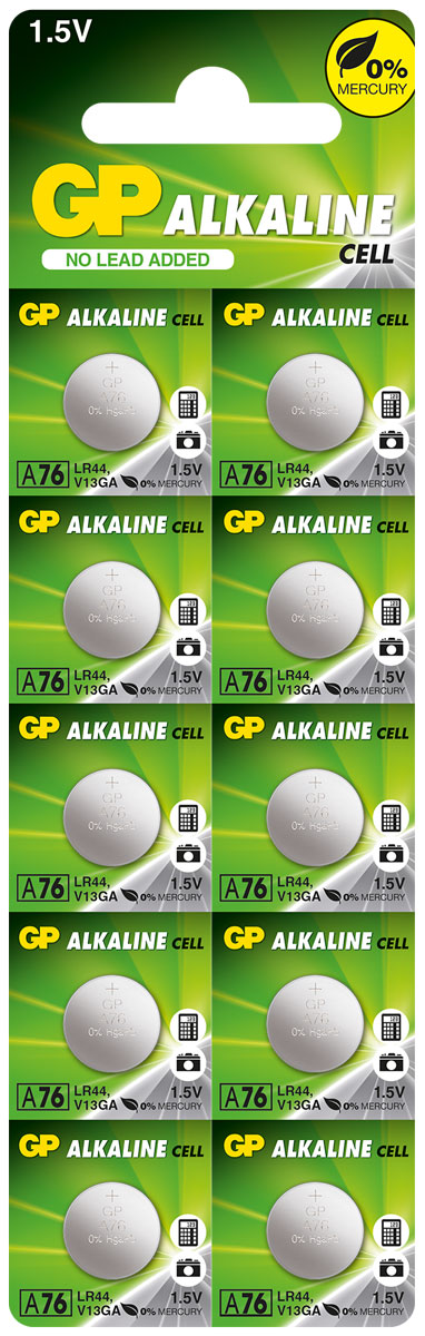 Набор алкалиновых дисковых батареек GP Batteries, тип A76, 10 шт3150Батарейки для электронных устройствGP Batteries являются источником энергии для множества маленьких электронных устройств и приборов: от калькуляторов, игрушек и систем входа без ключа до электронных книг. Все они питаются от маленьких, но мощных батареек размером с пуговицу, произведенных компанией GP Batteries. Особенности: Источник энергии для множества устройств;Маленькие и мощные.