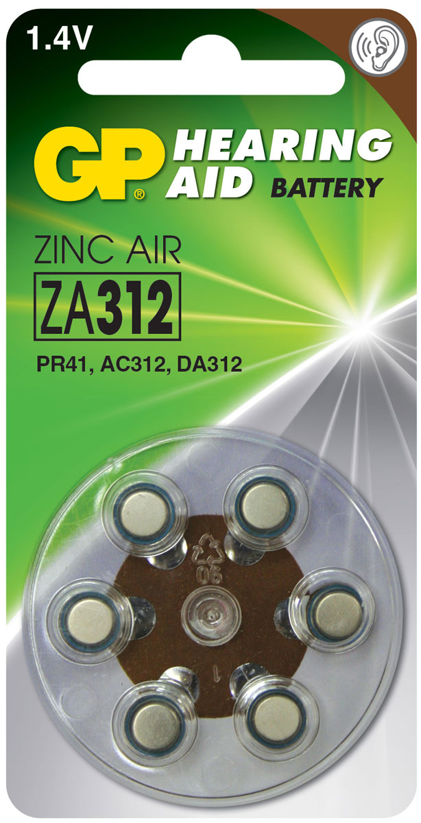 Набор батареек GP Batteries, для слуховых аппаратов, тип ZA312, 6 шт8487Батарейки GP Batteries специально разработаны для надежной работы в чувствительных слуховых аппаратах. Батарейки обеспечивают долгий срок службы практически для всех типов слуховых аппаратов. Особенности: Долгий срок службы;Надежное высокое качество;Все основные модели в ассортименте.