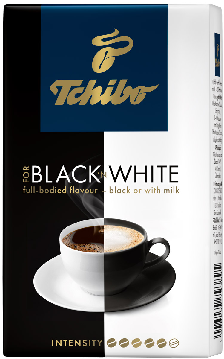 Tchibo Black and White кофе молотый, 250 г479263Tchibo Black and White одинаково хорош как для любителей классического черного кофе, так и для тех, кто предпочитает кофе с молоком. Его сбалансированный вкус раскроет свои лучшие качества независимо от того, как вы пьете ваш кофе. Под воздействием длительной обжарки отборные кофейные зерна приобретают свой непревзойденный аромат. Наслаждайтесь кофе так, как любите именно вы.