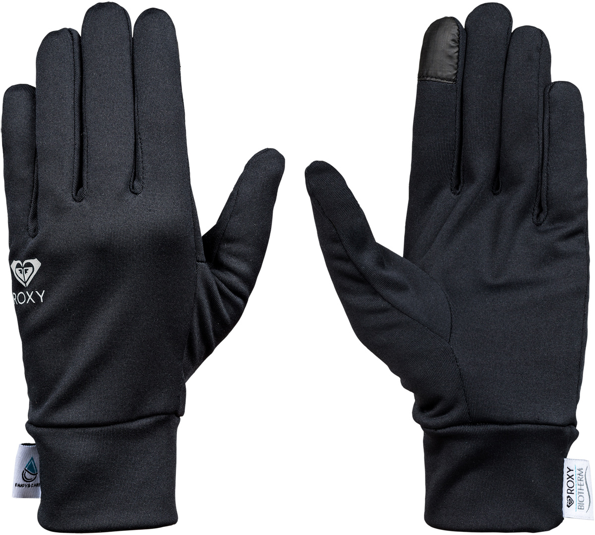 Перчатки женские Roxy Enjoy & Care, цвет: черный. ERJHN03073-KVJ0. Размер L (7,5)ERJHN03073-KVJ0Сноубордические перчатки Roxy Enjoy & Care выполнены из технологичного эластичного текстиля Polartec Power Stretch с подкладкой из косметотекстиля Enjoy & Care. Широкие манжеты обеспечивают комфортную посадку модели на руке. Указательный палец подходит для пользования тачскрином.