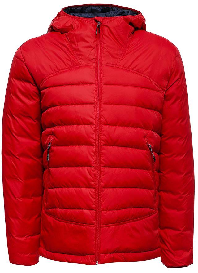 Пуховик мужской Sela, цвет: красный. Cd-226/396-7412. Размер M (48)Cd-226/396-7412Мужская куртка-пуховик от Sela выполнена из плащевки. Модель с длинными рукавами и втачным капюшоном застегивается на молнию. По бокам модель дополнена карманами на молниях.