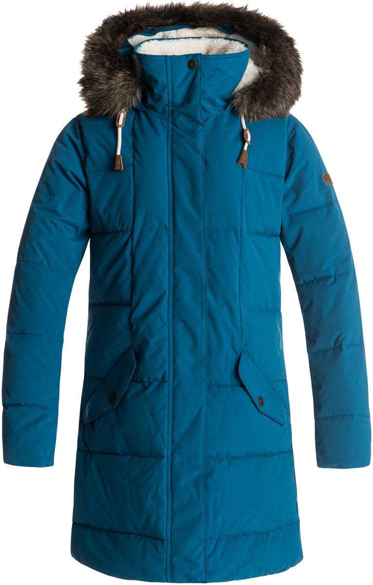 Куртка женская Roxy Ellie 5K, цвет: морская волна. ERJJK03186-BSF0. Размер XL (48)ERJJK03186-BSF0Женская куртка Roxy Ellie 5K изготовлена из высококачественного материала с синтетическим микроволокном с технологией водостойкости Roxy DryFlight 5K. Модель прямого кроя с воротником-стойкой, надежно защищающим от ветра, и капюшоном на утяжках со съемной оторочкой из синтетического меха застегивается на молнию с ветрозащитной планкой на кнопках и дополнена двумя карманами с клапанами на кнопках. Линия подола скруглена, манжеты дополнены эластичными вставками в рубчик. Куртка с подкладкой из шамбре имеет утеплитель WarmFlight 600 Fill Power и теплый объемный наполнитель из синтетического пуха. Воротник и капюшон выполнены с подкладкой из шерпы.