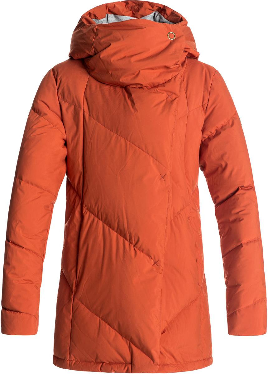 Куртка женская Roxy Abbie, цвет: оранжевый. ERJJK03189-RZB0. Размер XS (40)ERJJK03189-RZB0Женская куртка Roxy Abbie изготовлена из высококачественного полиэстера простого плетения с технологией водостойкости Roxy DryFlight 5K. Модель прямого кроя с высоким воротником-стойкой, надежно защищающим от ветра, и стильным капюшоном застегивается на молнию с ветрозащитной планкой на кнопках и дополнена двумя прорезными карманами на молнии. Манжеты дополнены эластичными вставками в рубчик. Куртка с подкладкой из шамбре имеет пуховый наполнитель 600 Fill Power (70% пуха и 30% пера).