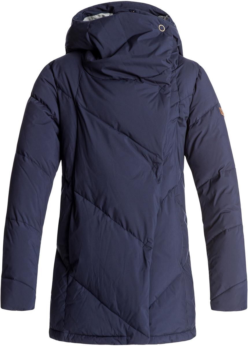 Куртка женская Roxy Abbie, цвет: темно-фиолетовый. ERJJK03189-BTN0. Размер XS (40)ERJJK03189-BTN0Женская куртка Roxy Abbie изготовлена из высококачественного полиэстера простого плетения с технологией водостойкости Roxy DryFlight 5K. Модель прямого кроя с высоким воротником-стойкой, надежно защищающим от ветра, и стильным капюшоном застегивается на молнию с ветрозащитной планкой на кнопках и дополнена двумя прорезными карманами на молнии. Манжеты дополнены эластичными вставками в рубчик. Куртка с подкладкой из шамбре имеет пуховый наполнитель 600 Fill Power (70% пуха и 30% пера).