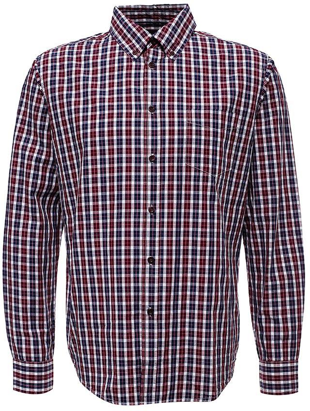 Рубашка мужская Sela, цвет: коричнево-бордовый. H-212/776-7442. Размер 40H-212/776-7442Мужская рубашка от Sela выполнена из натурального хлопка. Модель полуприлегающего силуэта с длинными рукавами и отложным воротником застегивается на пуговицы, на груди дополнена накладным кармашком.