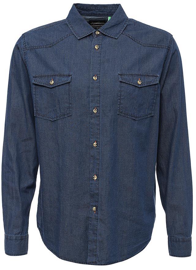 все цены на Рубашка мужская Sela, цвет: синяя впадина. Hj-232/003-7442. Размер XS (44) онлайн