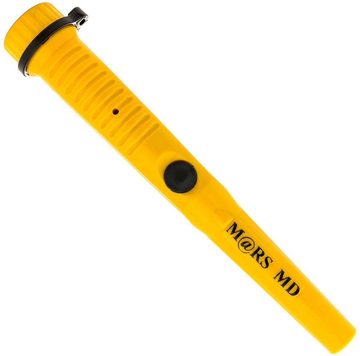 Металлоискатель Mars MD Pin Pointer Yellow, цвет: желтый, черный, длина 25,5 смM0173YМеталлоискатель Mars MD Pin Pointer Yellow предназначен для локализации мелких металлических объектов при поиске с грунтовым металлоискателем. Может пригодиться при проведении строительных работ и ремонта для обнаружения скрытой проводки, внутренних инженерных коммуникаций, тайников и так далее. Изделие имеет прочный пластиковый корпус, соответствующий классу защиты IP64. Mars MD Pin Pointer Yellow работает в двух режимах: статическом и динамическом, тогда, как большинство аналогов данной модели могут работать исключительно в условиях динамики. Достаточно поднести изделие к предполагаемой цели и вы услышите сигнал, это значительно экономит время поиска. Сигнал может быть вибро или звуковой, громкость звука будет нарастать по мере приближения девайса к цели.Металлоискатель Mars MD Pin Pointer Yellow очень чувствительный при работе с землей, потому как активна вся поверхность прибора. Расстояние до поискового объекта равна 3-3,5 см. В комплекте витой провод для крепления к поясу и чехол.Технические характеристики:Рабочая частота: 12 кГц.Диапазон рабочих температур: от -15°С до +50°С.Степень защиты корпуса: IP64.Питание: батарея V9 (в комплект не входит).Время работы: 16 часов.Вес: 187 г (с батареей).