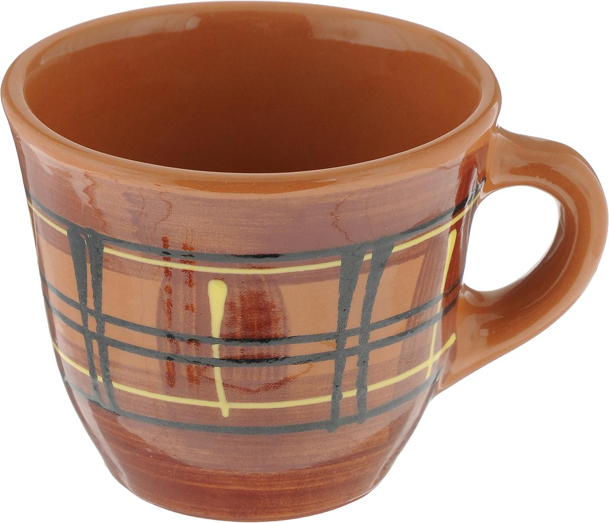 Чашка Борисовская керамика Стандарт. Полоски, 300 млОБЧ00000628_коричневый с полоскамиЧашка Борисовская керамика Стандарт. Полоски предназначена для повседневного использования. Изделие выполнено из высококачественной керамики. Природные свойства этого материала позволяют долго сохранять температуру напитка, даже, если вы пьете что-то холодное.Диаметр чашки (по верхнему краю): 10 см. Диаметр основания: 5,5 см. Высота чашки: 8,5 см.