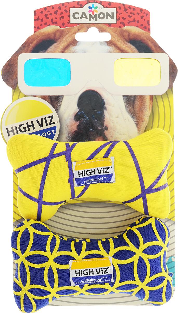 Игрушка для собак Camon High VIZ. Косточка, длина 12 см, 2 шт игрушка для животных camon тапочки с пищалкой цвет серый черный белый 12 х 10 х 3 см