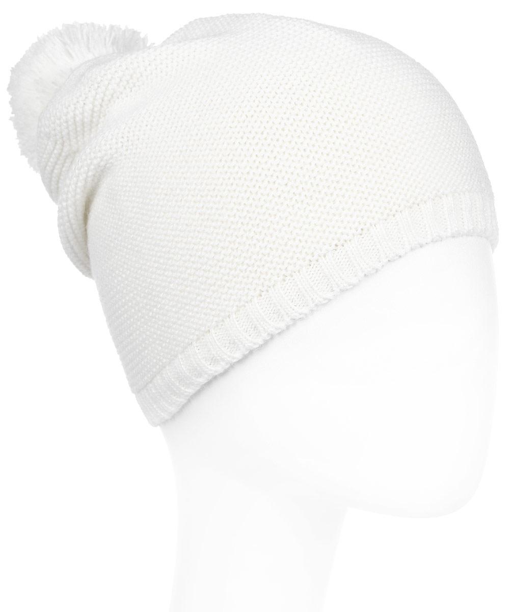 Шапка женская Janes Story, цвет: белый. 1011. Размер универсальный1011Вязаная шапка на флисовой подкладке Janes Story идеально подойдет для вас в холодное время года. Изготовленная из акрила и шерсти, она мягкая и приятная на ощупь, обладает хорошими дышащими свойствами и максимально удерживает тепло. Модель дополнена помпоном. Такой стильный и теплый аксессуар дополнит ваш образ и подчеркнет индивидуальность.