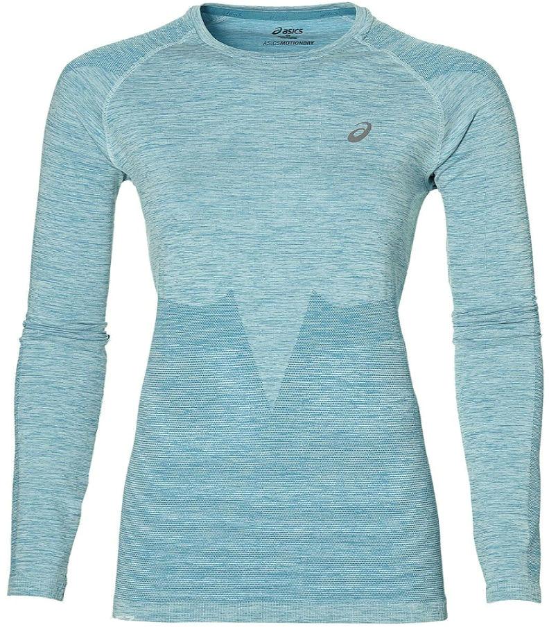Лонгслив для бега женский Asics Seamless LS, цвет: бирюзовый. 134610-8065. Размер L (48-50)134610-8065Женская бесшовная рубашка для бега Asics Seamless LS выполнена из высококачественного эластичного материала. Она прекрасно подходит для бега, фитнеса и тренинга. Мягкий дышащий материал отводит влагу от тела, создавая комфортные условия при забегах на большие расстояния или при интенсивной тренировке в зале. Вязаная структура ткани лучше сохраняет тепло и обеспечивает дополнительную вентиляцию.