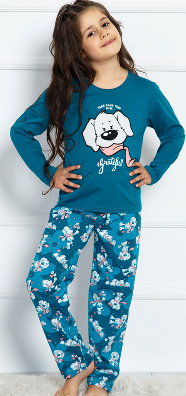 Домашний комплект детский Vienettas Secret Собака в цветах: брюки, кофта, цвет: марокканско-синий. 703038 0390. Размер 134/140703038 0390