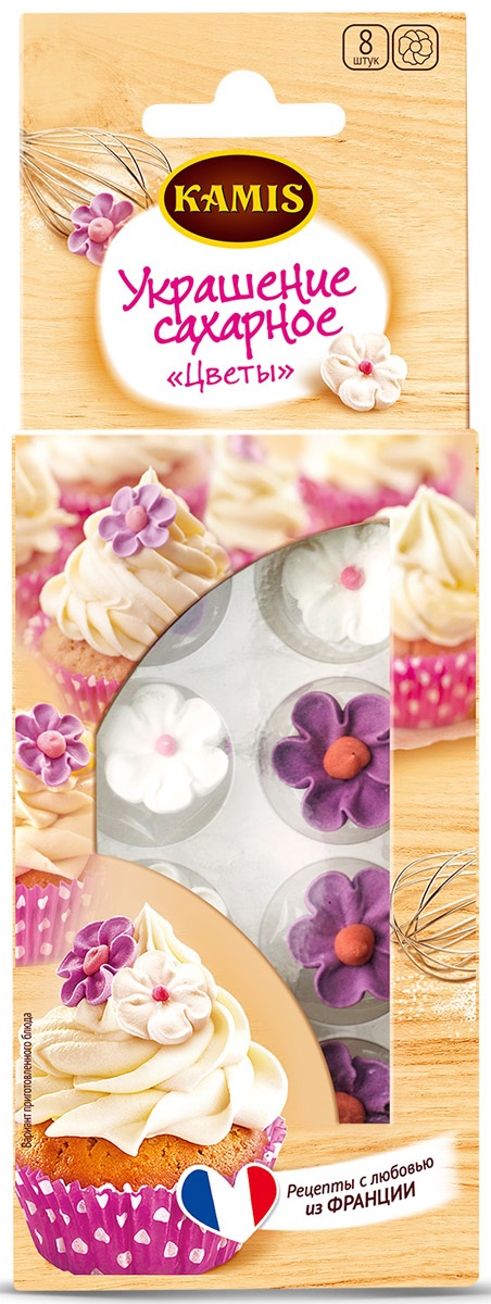 Kamis украшение сахарное цветы, 5 г901285266Россыпь нежных Сахарных цветов Kamis превратит ваш десерт в цветочную поляну. Индивидуальная упаковка сохраняет хрупкую красоту изящного цветка, а насыщенный вкус безе вносит дополнительную ноту в готовый десерт.