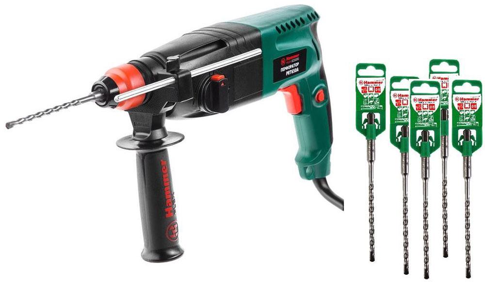 Перфоратор Hammer Flex PRT650A + Бур Hammer Flex, 6 х 160 мм, 5 шт499232Набор Перфоратор Hammer Flex PRT650A +Бур Hammer Flex 6х160 мм (5 шт.). Данный перфоратор с двигателем 650 Вт и мощностью удара 2,2 Дж предназначен для выдалбливания любых отверстий в таких материалах, как кирпич и бетон (в режиме Удар) и просверливания (в режиме Сверление с ударом).Особенности: Переключатель режимов работы снабжен функцией жесткой фиксации в заданном положении, что исключает возможность случайной смены его настроек в процессе эксплуатации. Малый вес и габариты изделия способствуют продолжительной и эффективной эксплуатации даже в условиях ограниченного пространства. Многопозиционная вспомогательная рукоятка обеспечит надежное удержание инструмента в руках, придавая дополнительное удобство в работе. Металлический ограничитель глубины с разметкой, закрепляемый на вспомогательной рукоятке, поможет выполнить точное сверление заданной толщины материала. Специальное отверстие на основной рукоятке позволяет подвешивать инструмент на различные крючья, что особенно удобно при работах на высоте. Встроенный блок электронной регулировки оборотов позволяет настроить инструмент в зависимости от характеристик обрабатываемого материала.