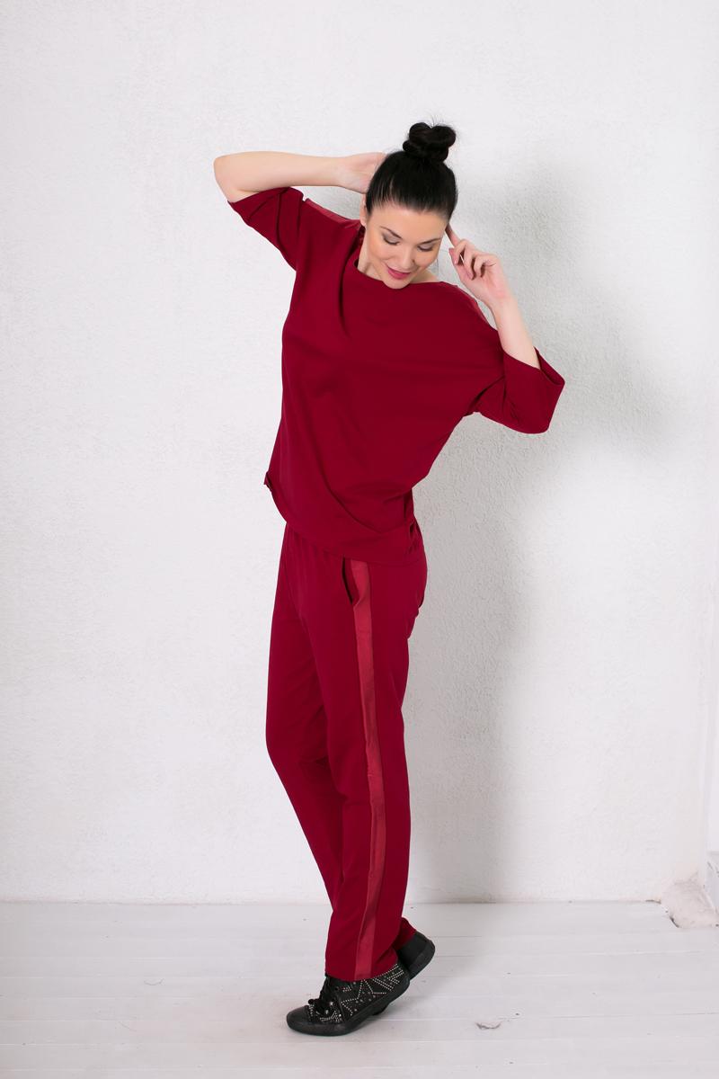 Домашний комплект женский Marusя: брюки, футболка, цвет: бордовый. 186002. Размер L (48)186002