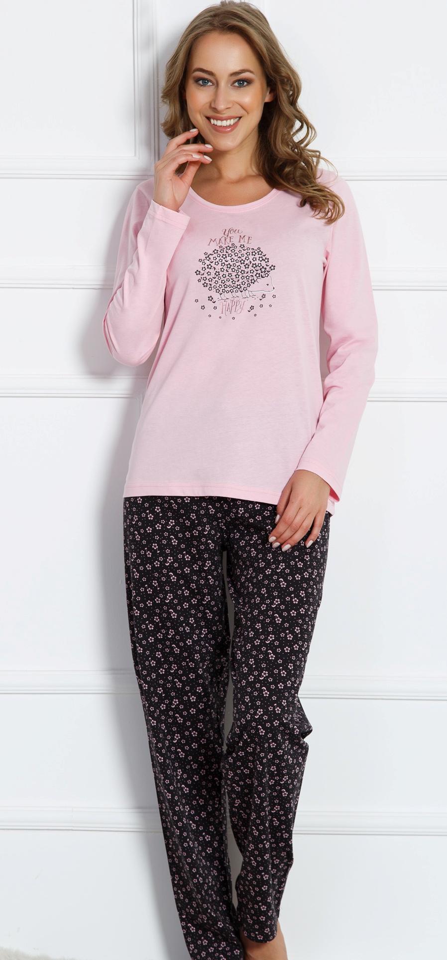 Домашний комплект женский Vienettas Secret Ёжик: брюки, кофта, цвет: розовый. 704093 2884. Размер L (48)704093 2884