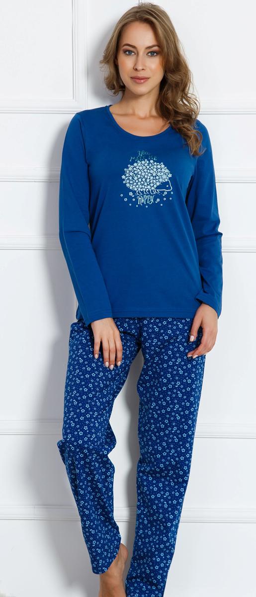 Домашний комплект женский Vienettas Secret Ёжик: брюки, кофта, цвет: темно-синий. 704093 2884. Размер XL (50)704093 2884