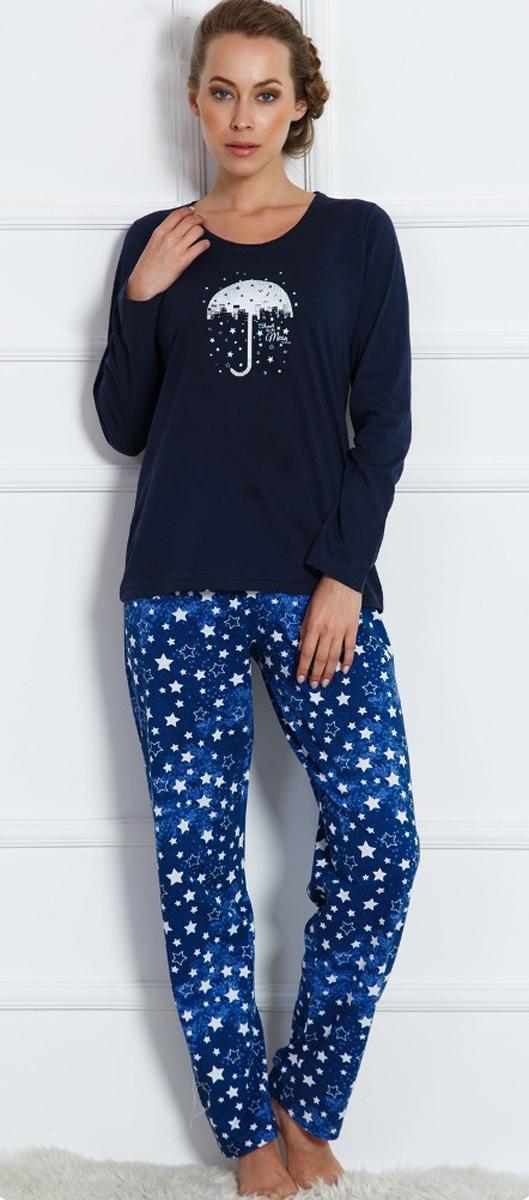 Домашний комплект женский Vienettas Secret Зонт: брюки, кофта, цвет: темно-синий. 704100 4598. Размер M (46)704100 4598