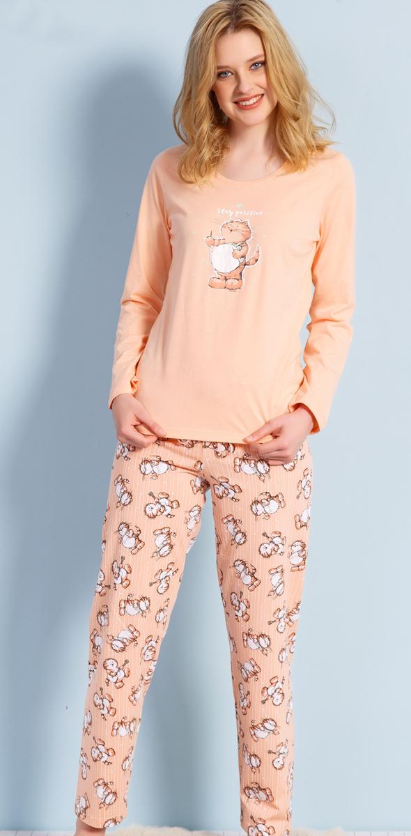 Домашний комплект женский Vienettas Secret Кот с барабаном: брюки, кофта, цвет: персиковый. 703033 3122. Размер M (46)703033 3122