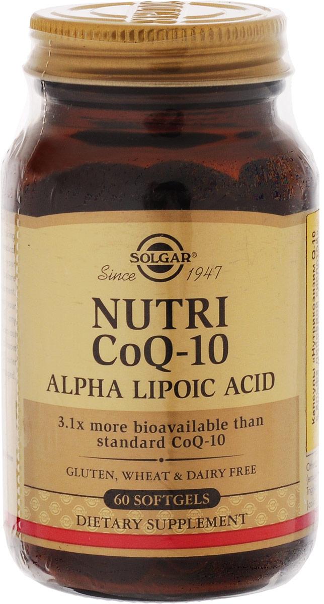 Нутрикоэнзим Q-10 Solgar, с альфа-липоевой кислотой, 60 капсул альфа липоевая кислота капсулы 30 шт