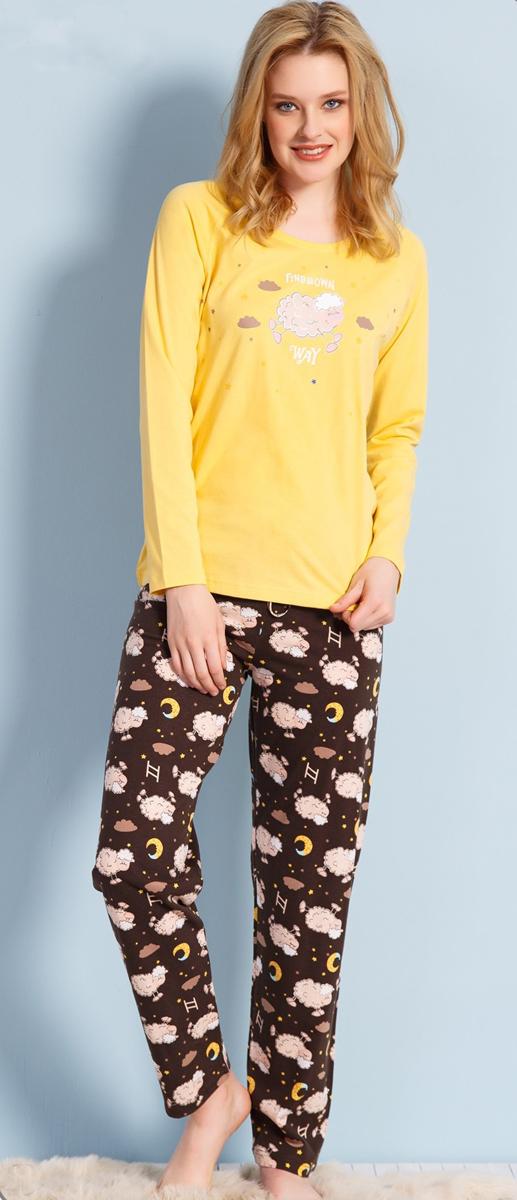 Домашний комплект женский Vienettas Secret Овечка под звездами: брюки, кофта, цвет: желтый. 703005 9434. Размер M (46)703005 9434