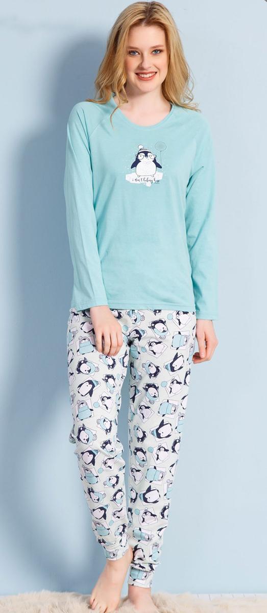 Домашний комплект женский Vienettas Secret Пингвин с шариком: брюки, кофта, цвет: голубой. 703013 3129. Размер XL (50)703013 3129