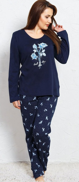 Домашний комплект женский Vienetta's Secret Розы: брюки, кофта, цвет: темно-синий. 704171 0435. Размер XL (50/52) брюки для дома мужские diesel цвет синий 00sj3i 0damk 05 размер xl 50
