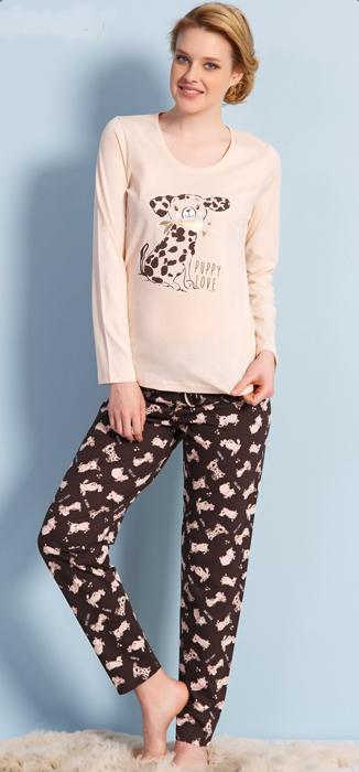 все цены на Домашний комплект женский Vienetta's Secret Собачка Puppy Love: брюки, кофта, цвет: молочный. 703028 0393. Размер XL (50)