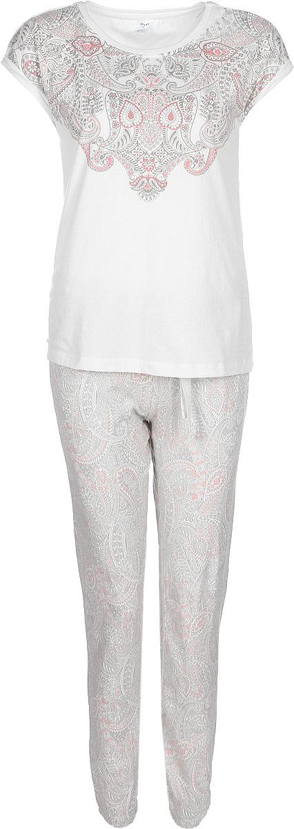 Пижама женская Sela, цвет: слоновая кость. PYb-162/023-7331. Размер L (48)PYb-162/023-7331
