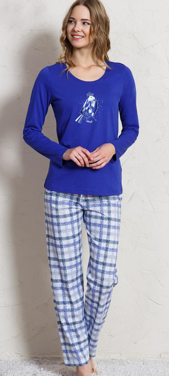 Домашний комплект женский Vienettas Secret Соловей: брюки, кофта, цвет: индиго. 704125 1251. Размер M (46)704125 1251