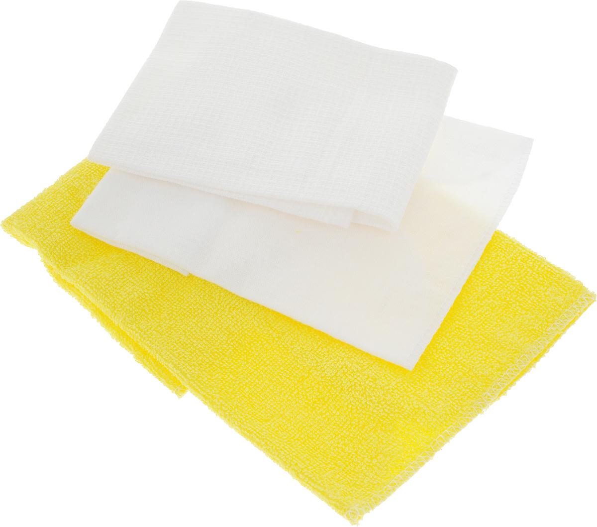 Набор салфеток для мойки и полировки автомобиля Главдор, цвет: желтый, белый, 3 штGL-90-004_желтый, белыйНабор салфеток для мойки и полировки автомобиля Главдор состоит из 3 различных по фактуре салфеток, выполненных из 100% хлопка. Вафельная салфетка подходит для протирки насухо любых поверхностей автомобиля после мойки и других работ, а также для бытового применения. Махровая салфетка подходит для удаления пыли, нанесения очистителей и полиролей, а также для располировки автомобильной косметики. Фланелевая салфетка подходит для ухода за внешними и внутренними частями автомобиля - удаление излишней влаги, пыли и загрязнений. Размер салфеток: 37 х 37 см; 25 х 29 см; 39 х 39 см.
