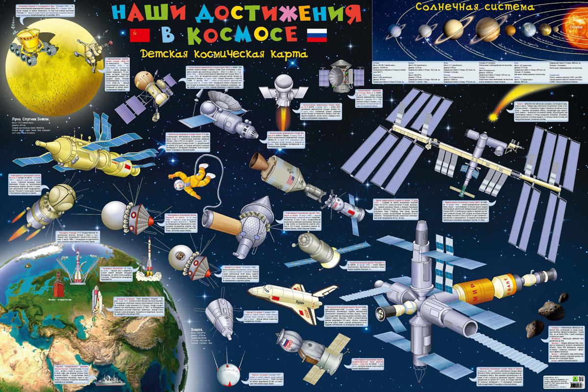 Наши достижения в космосе. Настенная карта