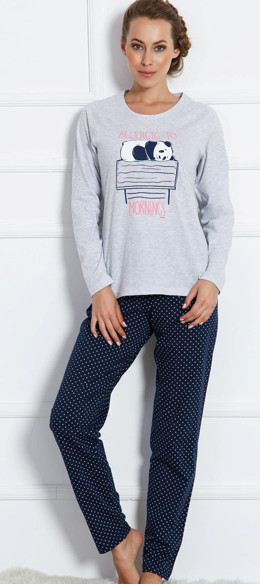 Домашний комплект женский Vienettas Secret Спящая коала: брюки, кофта, цвет: серый меланж. 704039 0003. Размер L (48)704039 0003