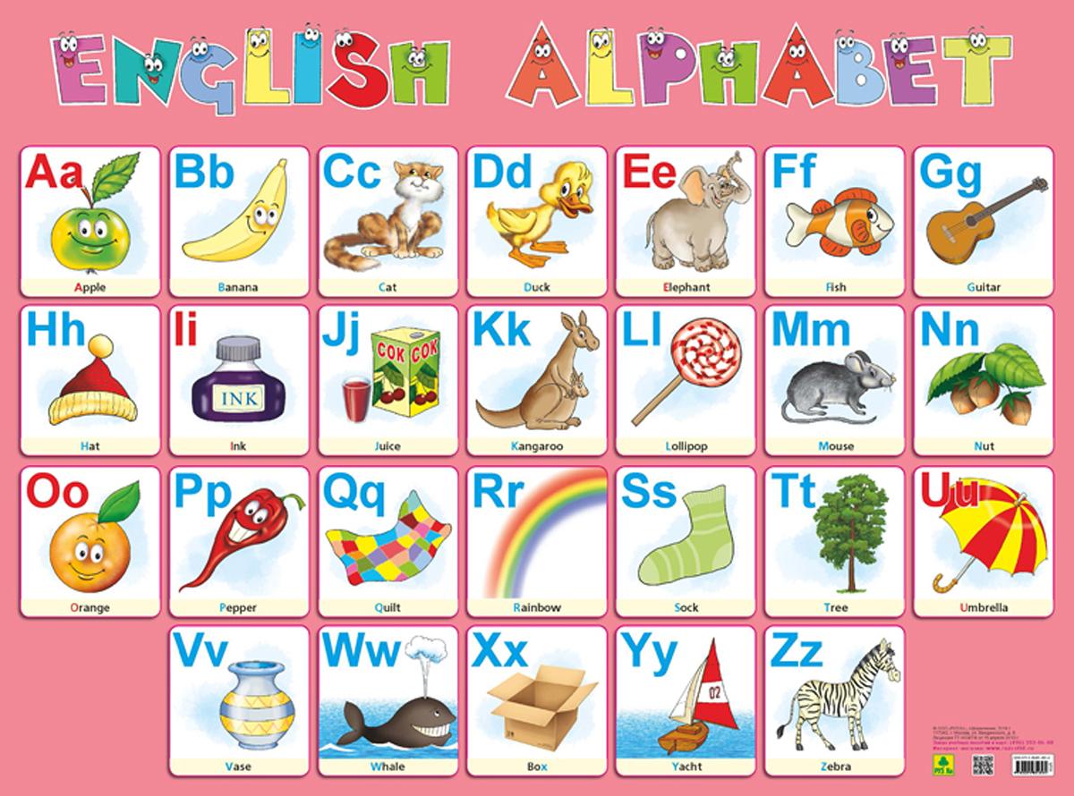English Alphabet / Английский алфавит. Плакат учим английский с героями диснея alphabet алфавит