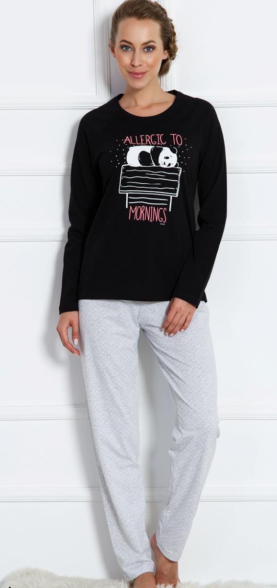 Домашний комплект женский Vienettas Secret Спящая коала: брюки, кофта, цвет: черный. 704039 0003. Размер M (46)704039 0003