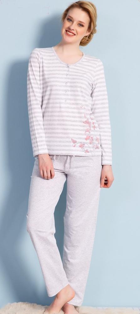 Домашний комплект женский Vienettas Secret Цветы: брюки, кофта, цвет: серый меланж. 704057 0000. Размер L (48)704057 0000